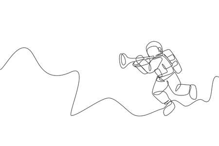 One continuous line drawing of astronaut with spacesuit playing trumpet in galaxy universe. Outer space music concert and orchestra concept. Dynamic single line draw design vector graphic illustration Ilustrace