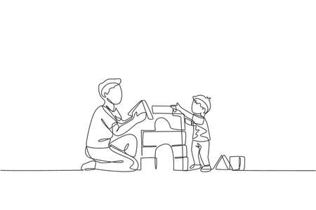 One continuous line drawing of young happy dad playing with son building house from foam puzzle block toy at home. Family time parenting concept. Dynamic single line draw design vector illustration Vektorgrafik