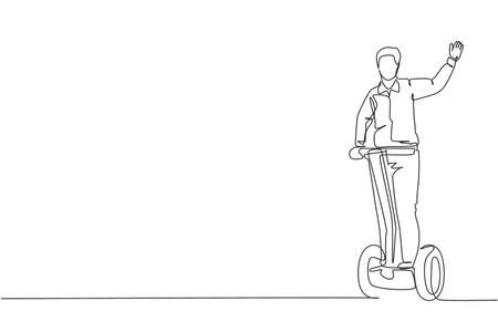 One single line drawing young energetic man riding electric two wheel balance at city park vector illustration. Future transporter. Healthy lifestyle sport concept. Modern continuous line draw design