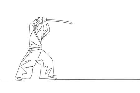 One single line drawing of young energetic man wearing kimono exercise aikido technique with wooden sword in sports hall vector illustration. Healthy sport concept. Modern continuous line draw design