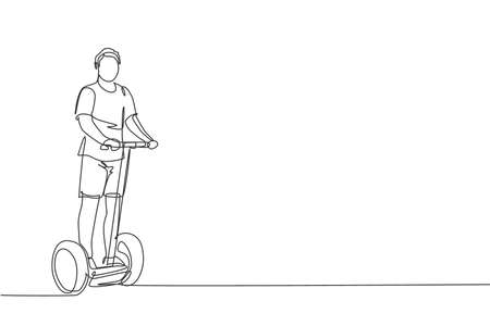 One continuous line drawing of young happy man ride electric kick scooter at outdoor park. Green transportation. Future urban lifestyle concept. Dynamic single line draw design vector illustration 向量圖像