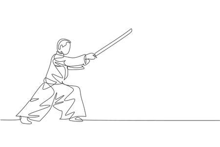 One single line drawing of young energetic man wearing kimono exercise aikido technique with wooden sword in sport hall vector illustration. Health lifestyle sport concept. Continuous line draw design Vektorové ilustrace