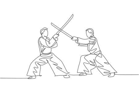 One single line drawing of young energetic man wearing kimono exercise aikido fight with wooden sword in sports hall vector illustration. Healthy lifestyle sport concept. Continuous line draw design