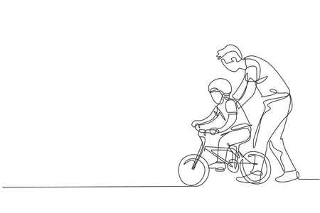 Single continuous line drawing of young kids boy learning ride bicycle with father at outdoor park. Parenthood lesson. Family time concept. Trendy one line draw design graphic vector illustration