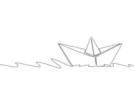 Single continuous line drawing of paper boat sailing on the water river. Origami toy concept. Trendy one line draw design graphic vector illustration