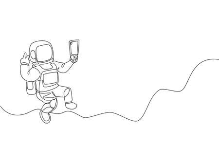 One single line drawing of space man astronaut exploring cosmic galaxy, pose selfie with mobile phone vector illustration. Fantasy outer space life fiction concept. Modern continuous line draw design 向量圖像