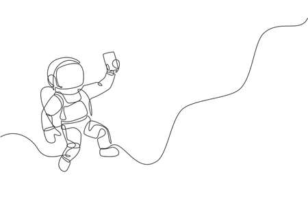 One continuous line drawing of cosmonaut exploring outer space. Astronaut selfie using smartphone device. Fantasy cosmic galaxy discovery concept. Dynamic single line draw design vector illustration