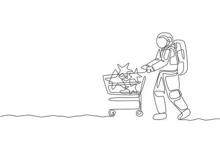 One continuous line drawing of young astronaut pushing trolley with stars inside and buying toy in supermarket. Cosmic galaxy space concept. Dynamic single line draw design vector graphic illustration