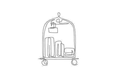 One single line drawing of luggage trolley in hotel vector graphic illustration. Hotel room service concept. Modern continuous line draw design 向量圖像