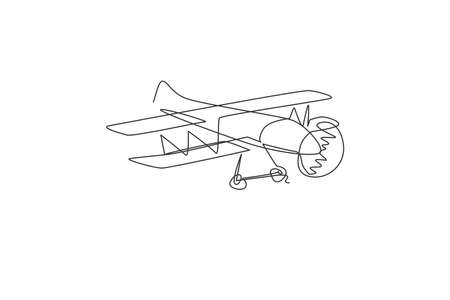 Single continuous line drawing of retro biplane flying on the sky. Airplane vehicle for war concept. Trendy one line draw design vector graphic illustration 向量圖像