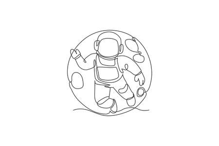 Single continuous line drawing of floating science astronaut in spacewalk flying against full moon. Fantasy deep space exploration, fiction concept. Trendy one line draw design vector illustration 向量圖像