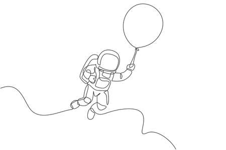 One single line drawing of space man astronaut exploring cosmic galaxy, flying with balloon vector graphic illustration. Fantasy outer space life fiction concept. Modern continuous line draw design