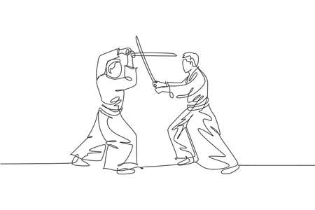 Single continuous line drawing of two sportive men wearing kimono practice aikido sparring fight technique with wooden sword. Japanese martial art concept. One line draw design vector illustration 向量圖像