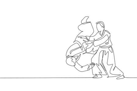 One single line drawing of two young energetic men wearing kimono exercise aikido slam technique in sports hall vector illustration. Healthy lifestyle sport concept. Modern continuous line draw design