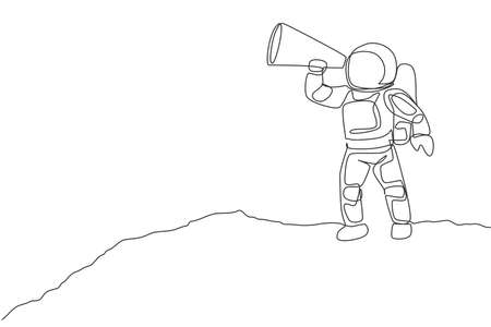 One single line drawing of young astronaut holding paper speaker to announce loudly some rules in moon surface vector illustration. Cosmonaut deep space concept. Modern continuous line draw design