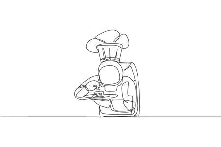 Single continuous line drawing of astronaut tasting delicious food before serving to customer in outer space cafe. Healthy restaurant cuisine concept. Trendy one line draw design vector illustration 向量圖像