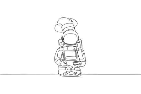 One continuous line drawing of young astronaut chef pouring seasoning into dish for serving dinner. Healthy cuisine food menu on restaurant concept. Dynamic single line draw design vector illustration