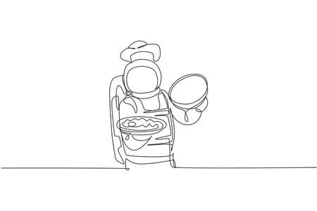 One continuous line drawing of young astronaut chef opening food cloche tray with delicious dish. Healthy cuisine food menu on restaurant concept. Dynamic single line draw design vector illustration 向量圖像