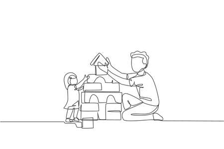 One continuous line drawing of young happy father playing build a brick house with lovely daughter at home. Family parenting concept. Dynamic single line draw design graphic vector illustration 向量圖像