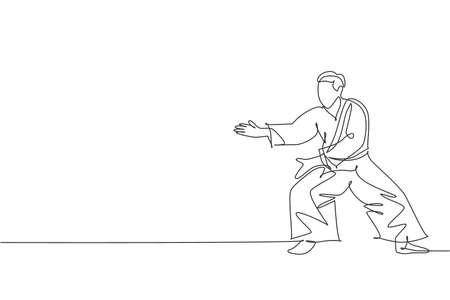 One continuous line drawing of young man aikido fighter practice fighting stance pose at dojo training center. Martial art combative sport concept. Dynamic single line draw design vector illustration