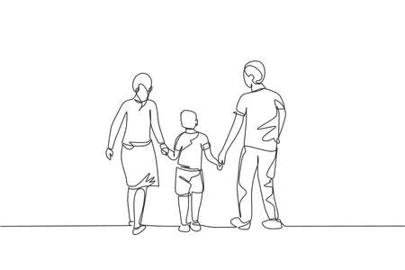 One single line drawing of young happy mother and father lead their son walking together, holding his hands graphic vector illustration. Parenting education concept. Modern continuous line draw design
