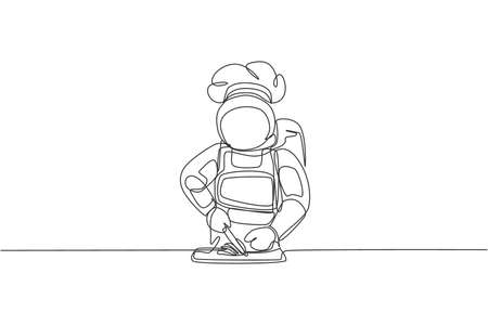 One continuous line drawing of astronaut chef cutting food material to cook delicious dish for dinner. Healthy cuisine menu on restaurant concept. Dynamic single line draw design vector illustration