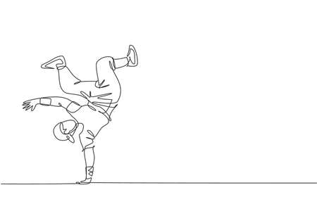 One continuous line drawing of young sporty break dancer man with casual shirt show hiphop dance style in the street. Urban lifestyle sport concept. Dynamic single line draw design vector illustration 向量圖像