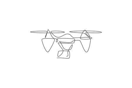 Single continuous line drawing of flying drone airplane, unmanned plane. Air transportation vehicle concept. Trendy one line draw graphic design vector illustration