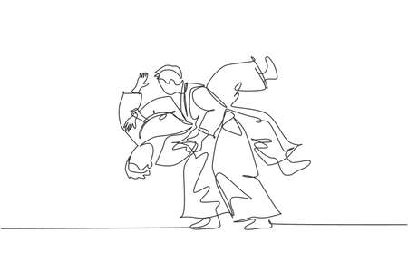 Single continuous line drawing of two young sportive man wearing kimono practice slamming in aikido fighting technique. Japanese martial art concept. Trendy one line draw design vector illustration