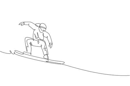 Single continuous line drawing of young sportive snowboarder man riding snowboard at mountain. Outdoor extreme sport. Winter season vacation concept. Trendy one line draw design vector illustration 向量圖像