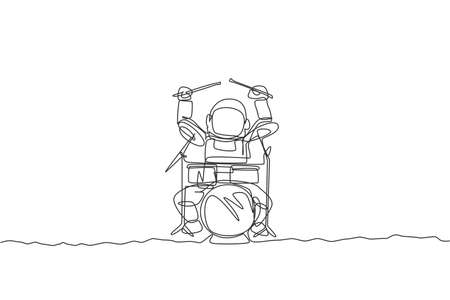One continuous line drawing of astronaut drummer with spacesuit playing drum in moon surface. Outer space music concert concept. Dynamic single line draw design vector illustration graphic 向量圖像