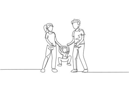 One single line drawing of young mom dad holding their son together then lift and swing him, parenting vector illustration. Happy family playing together concept. Modern continuous line draw design 向量圖像