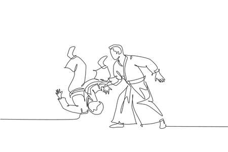 One continuous line drawing of young man aikido fighter practice fighting technique at dojo training center. Martial art combative sport concept. Dynamic single line draw design vector illustration