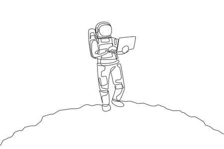 Single continuous line drawing of astronaut standing in moon surface while typing using laptop. Business office with galaxy outer space concept. Trendy one line draw design graphic vector illustration 向量圖像