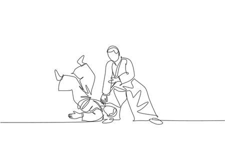 Single continuous line drawing of two young sportive men wearing kimono practice throwing in aikido fighting technique. Japanese martial art concept. Trendy one line draw design vector illustration