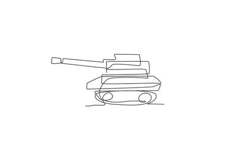 Single continuous line drawing of metal war tank with cannon gun, side view. Transportation vehicle concept. Trendy one line draw graphic design vector illustration
