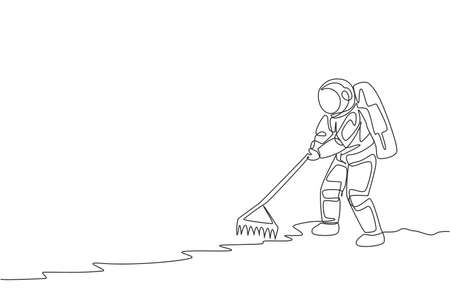 Single continuous line drawing cosmonaut leveling and flattening land using metal rake in moon surface. Galaxy astronaut farming life concept. Trendy one line graphic draw design vector illustration 向量圖像