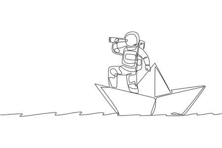 One single line drawing young astronaut look at forward using telescope while standing on paper boat in sea ocean graphic vector illustration. Cosmonaut deep space concept. Continuous line draw design