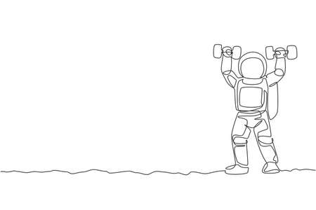 One continuous line drawing of astronaut exercising lifting dumbbell in moon cosmic galaxy. Outer space sport and lifestyle concept. Dynamic single line draw graphic design vector illustration