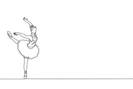 Single continuous line drawing of young graceful pretty ballerina demonstrated classic ballet choreography dancing skill. Opera dance concept. Trendy one line draw design graphic vector illustration 向量圖像