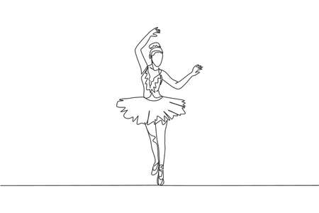 Single continuous line drawing of young graceful pretty ballerina demonstrated classic ballet choreography dancing skill. Opera dance concept. Trendy one line draw design vector illustration graphic