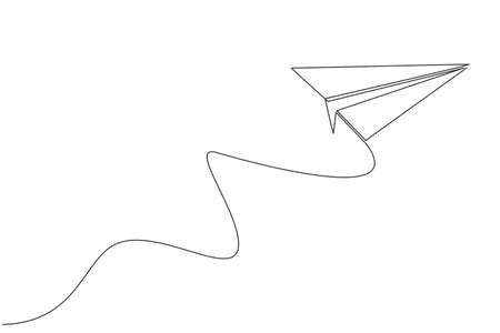 One single line drawing of paper plane flying on the sky graphic vector illustration. Origami craft concept. Modern continuous line draw design