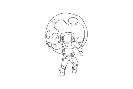 One single line drawing of space man astronaut exploring cosmic galaxy, flying in front of full moon vector illustration. Fantasy outer space life fiction concept. Modern continuous line draw design