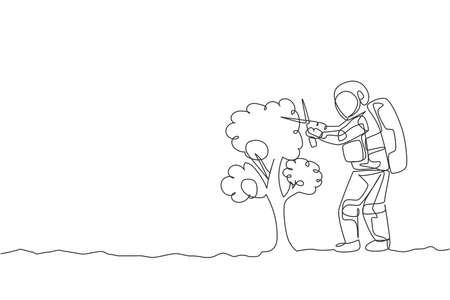 One continuous line drawing of spaceman cutting tree leaf using gardening scissor in moon surface. Deep space gardening astronaut concept. Dynamic single line draw design graphic vector illustration