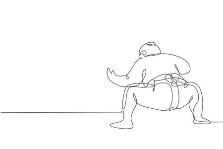 Single continuous line drawing of young big fat Japanese sumo man training at arena gym center. Traditional festival martial art concept. Trendy one line draw graphic design vector illustration