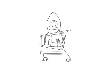 One continuous line drawing of rocket toys inside shopping cart. Sale product concept. Dynamic single line draw design graphic vector illustration