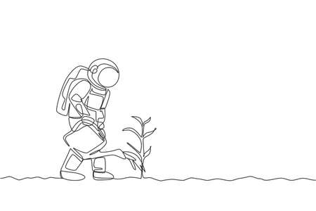 Single continuous line drawing cosmonaut watering plant tree using plastic watering can in moon surface. Galaxy astronaut farming life concept. Trendy one line draw design graphic vector illustration 向量圖像