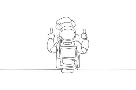 One continuous line drawing of young astronaut chef giving thumbs up gesture for delicious food. Healthy cuisine food menu on restaurant concept. Dynamic single line draw design vector illustration
