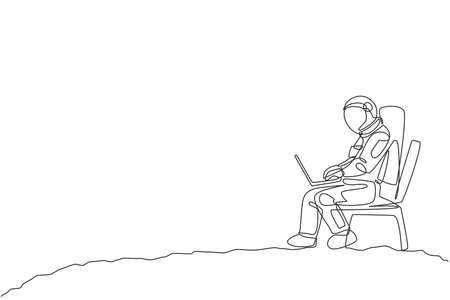 One single line drawing of cosmonaut sitting on chair while typing in moon surface graphic vector illustration. Astronaut business office with outer space concept. Modern continuous line draw design 向量圖像