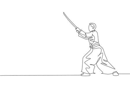 Single continuous line drawing of young sportive man wearing kimono practice aikido with wooden sword fighting technique. Japanese martial art concept. Trendy one line draw design vector illustration